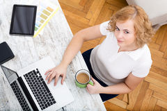 Woman in the home office Royalty Free Stock Photos