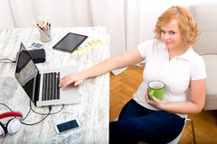 Woman in the home office Royalty Free Stock Photography