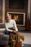 Woman at home with shopping bags Stock Photos