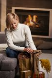 Woman at home with shopping bags Royalty Free Stock Image