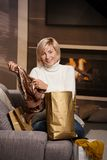 Woman at home with shopping bags Royalty Free Stock Photos
