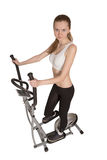 Woman on home trainer Stock Photo