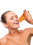 Woman with honeycomb Royalty Free Stock Image