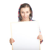Woman in hood with blank sign Stock Photo