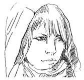 Woman in hood pencil drawing,  Stock Photo