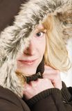 Woman hooded winter coat Royalty Free Stock Image