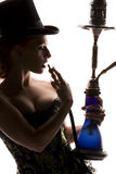 Woman with hookah Royalty Free Stock Photos