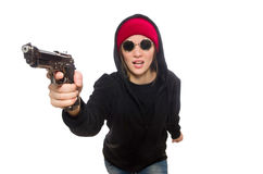 Woman hooligan isolated on the white Royalty Free Stock Photos
