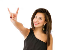 Woman horn gesture Stock Photo