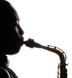 Woman and Horn Stock Images