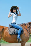 Woman and horse Stock Image