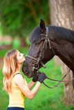 Woman and horse Royalty Free Stock Images