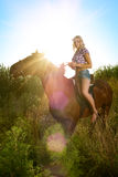 Woman with horse royalty free stock images