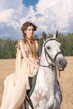 The woman on horse Royalty Free Stock Photography