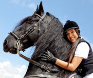 Woman with a horse Royalty Free Stock Photos