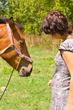 Woman and horse. Young woman and horse in the meadow Stock Photography