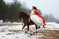 Woman on a horse stock images