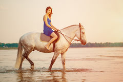 Woman and horse on the background of sky and water. Girl model o Stock Image