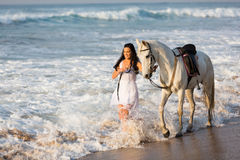Woman horse beach Stock Photography