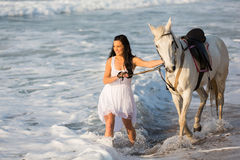 Woman horse beach Royalty Free Stock Image