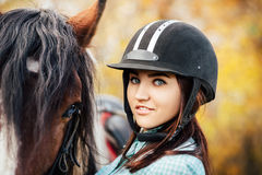 Woman and horse stock photos
