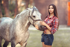 Woman and Horse. Casual Sexy Style Stock Photos