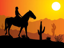 Woman on the horse in desert Royalty Free Stock Photo