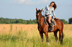 The woman on a horse in the field Stock Photos