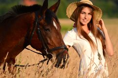 The woman on a horse in the field Royalty Free Stock Image