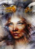 Mystic woman and two eagles beautiful painting, eye contact, abstract background. Beautiful painting of mystic woman face and two eagles, eye contact, abstract stock illustration