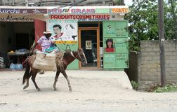 Woman on horse in Haiti. Stock Photography