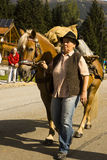 Woman horse Oktoberfest in Gerlos Austria stock image