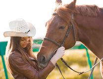 Woman and  horse. Portrait close up 2 Royalty Free Stock Photo