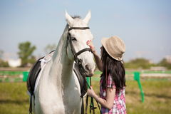 Woman and  horse. Portrait close up, pink plaid shirt Stock Images