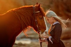 Woman with horse on rocky seashore stock images