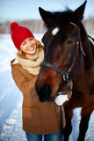 Woman with horse Royalty Free Stock Photos