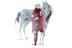 Woman and horse watercolor illustration.  royalty free stock photo