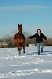 Woman and horse in Winter Royalty Free Stock Image