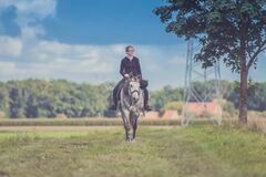Woman on horseback Royalty Free Stock Photography