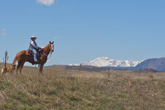 Woman on horseback with dog. Woman on horseback in Greenland, Colorado with Pikes Peak in the background Stock Image