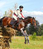 Woman horseback jumping Cross-Country Royalty Free Stock Images