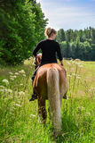 Woman horseback riding IV. Woman horseback riding on meadow withour saddle Stock Image