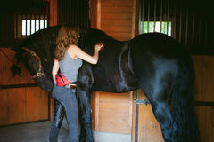 Emotional portrait of a horsewoman rider woman, black Friesian stallion thoroughbred pet