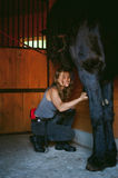 Woman horseman cleans from dirt with brush Friesian horse in stables on farm. Taking care of purebred pets royalty free stock photo
