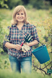 Woman horticultural tools Stock Photo