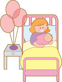 Woman in hospital. Bed with new baby girl Royalty Free Stock Photos