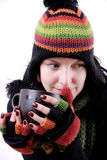 Woman with hot beverage Royalty Free Stock Image