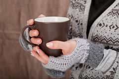 Woman with hot chocolate Royalty Free Stock Images