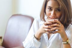 Woman with hot chocolate. stock photo
