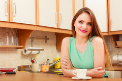 Woman with hot coffee beverage. Caffeine. Royalty Free Stock Image